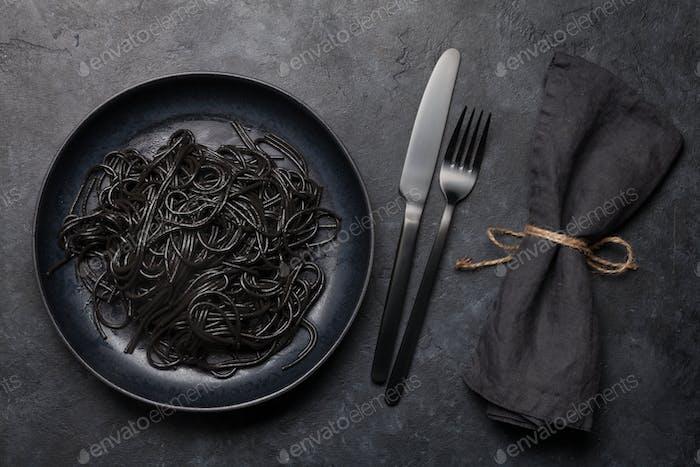 Black spaghetti pasta