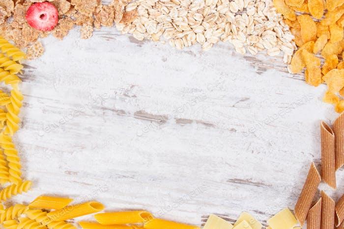 Rahmen von Zutaten und Produkten als Quelle Kohlenhydrate, Vitamine, Mineralstoffe und Ballaststoffe