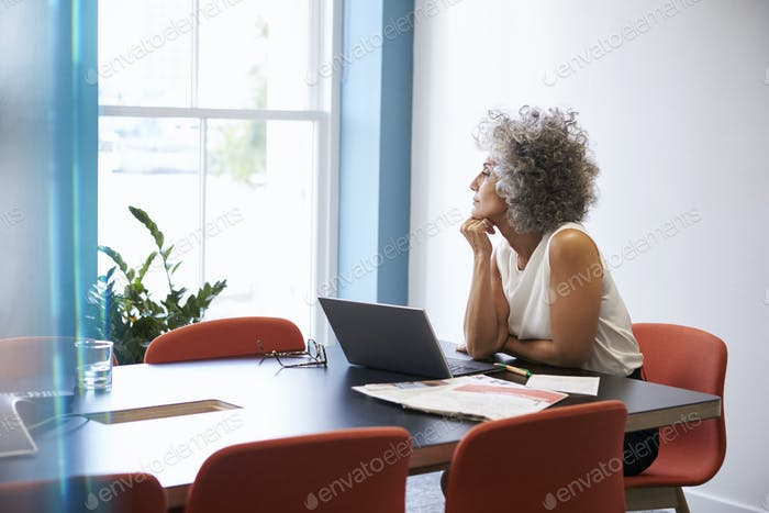 Middle aged woman looking out of the window in the boardroom