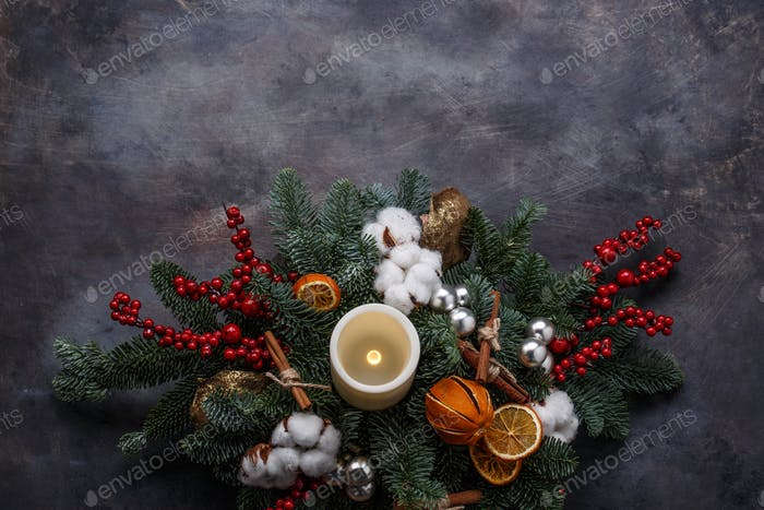 Christmas wreath background top view, copyspace