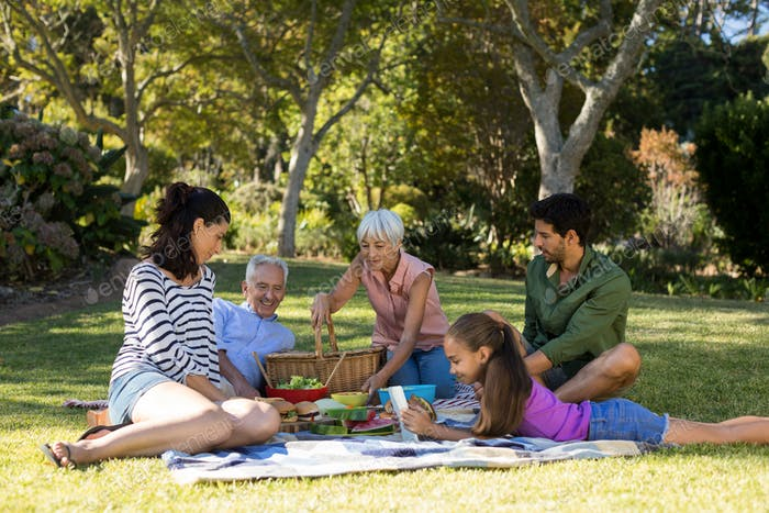 Happy family having breakfast in the park
