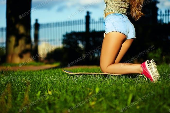 Beautiful model in jeans shorts