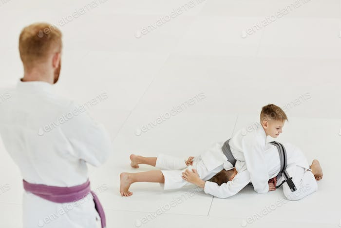 Boys practicing the techniques