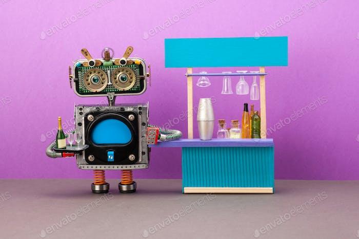 Робот бармена держит поднос с бутылкой игристого вина и бокалами.
