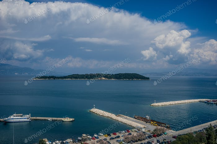 View of the port of Corfu town, Greece