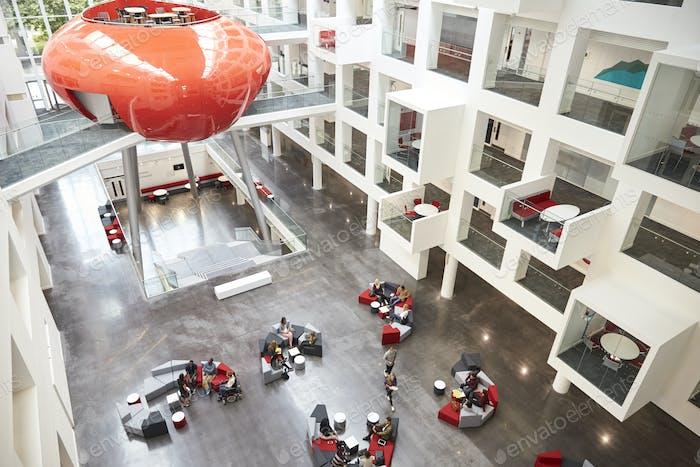 Modernist interior of a university atrium, elevated view