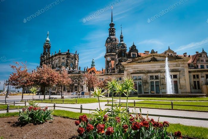 Dresden, Germany. Spring scene in historical cityscape, residence kings of Saxony Dresden Castle