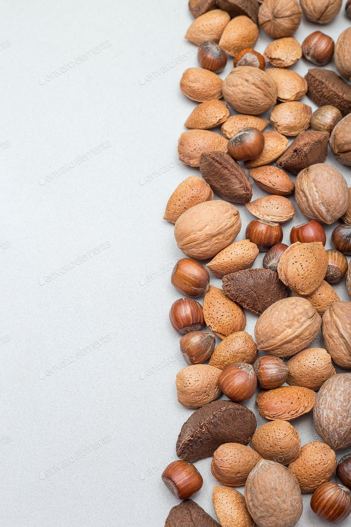 Different kinds of nuts in the shell, hazelnut, walnut, almond a