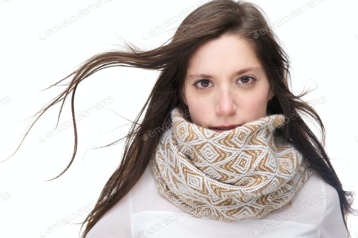 Beautiful young woman with scarf isolated on white background