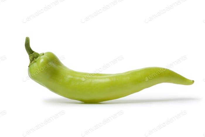 Whole single green Carliston pepper