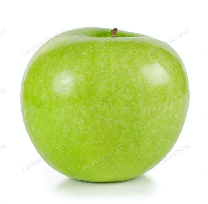 The bright green ripe apple