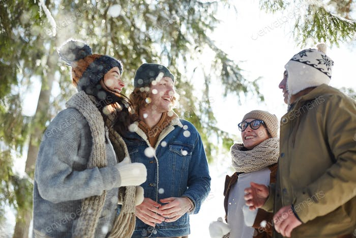 Group of Young People Enjoying Winter Vacation