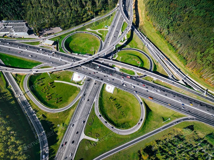 Aerial view of a massive highway road intersection in Moscow city, Russia
