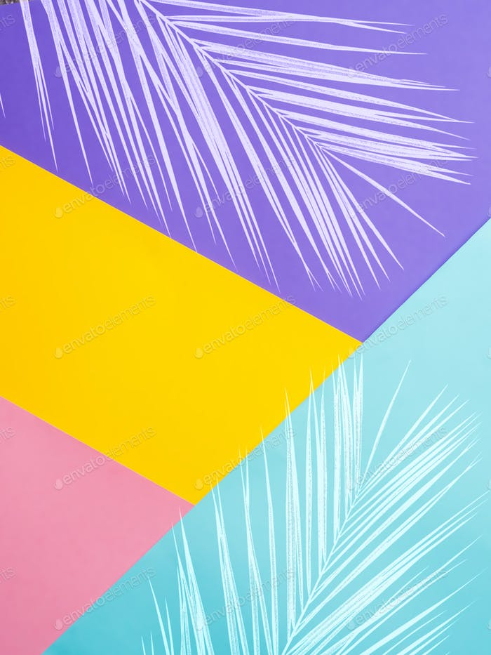 Colored paper background with tropical leaf