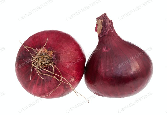 two bulbs of ripe red onion isolated on white