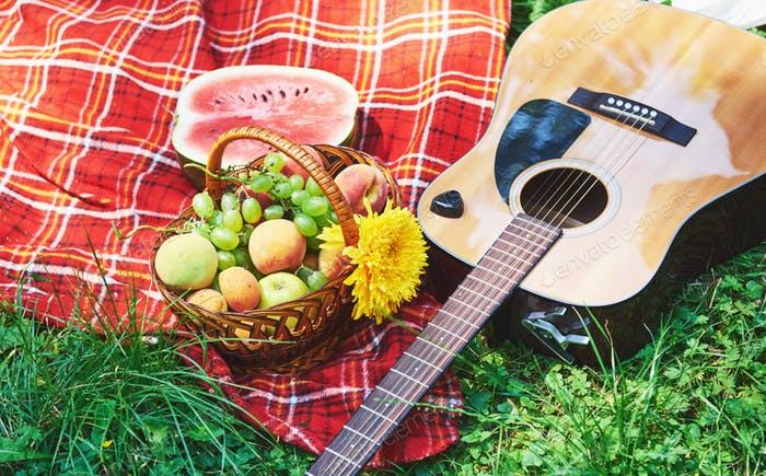 Picnic with watermelons and basket