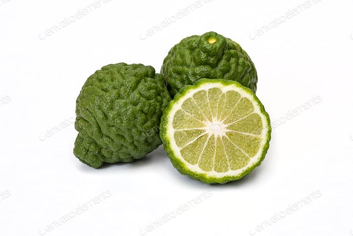 Bergamot fruit kaffir limes on a white background