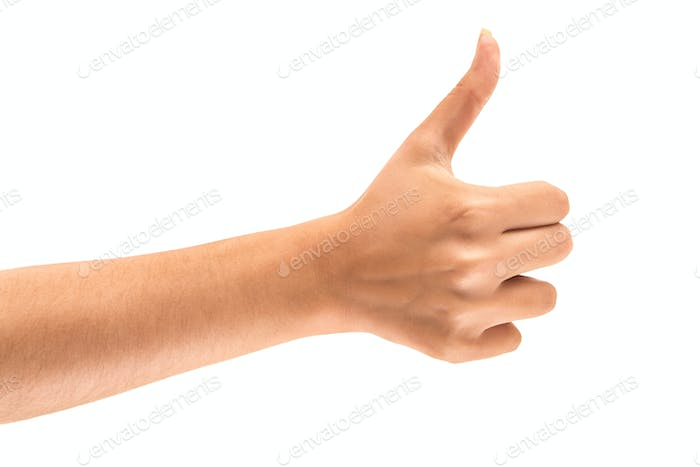 Beautiful female hand with thumbs up