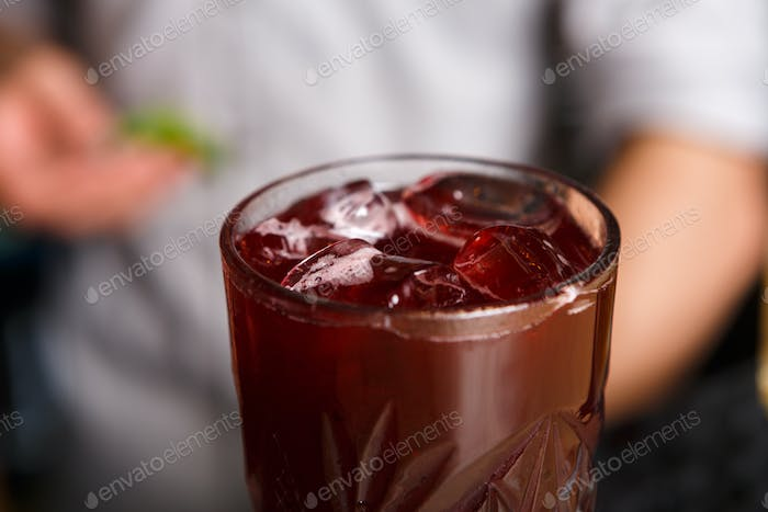 Closeup of healthy sweet berry non-alcoholic party cocktail