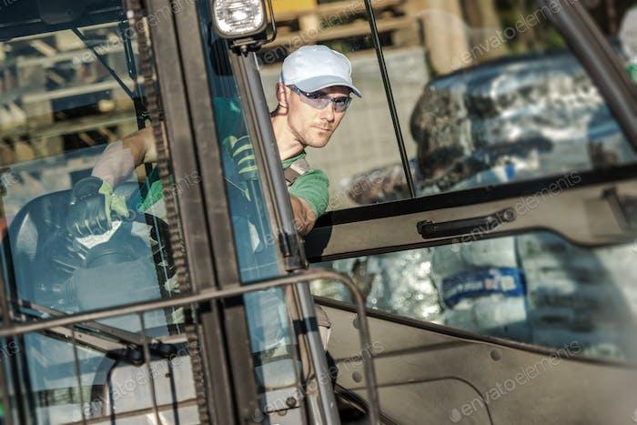 Forklift Worker in Action