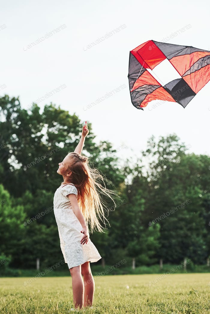 Side view. Happy girl in white clothes have fun with kite in the field. Beautiful nature