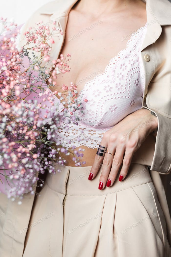 Woman hand with red manicure