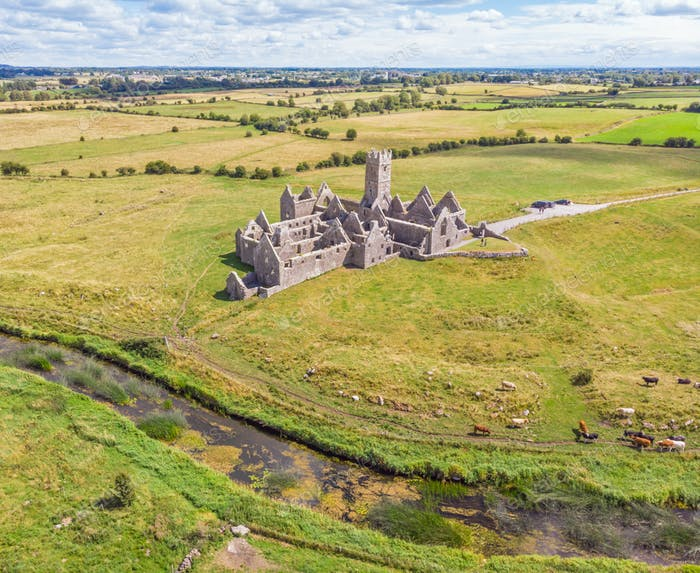 An Aerial View of Ross Errilly Friary in Ireland