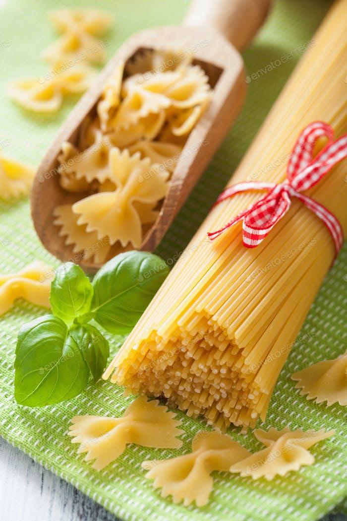 raw pasta spaghetti farfalle italian cuisine