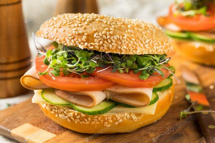 Homemade Bagel Turkey Sandwich