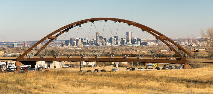 Denver Skyline Transit Bridge Colorado Landscape
