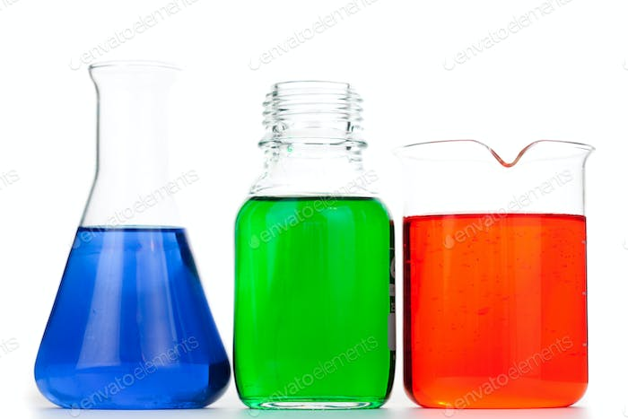 Beakers and an erlenmeyer against a white background