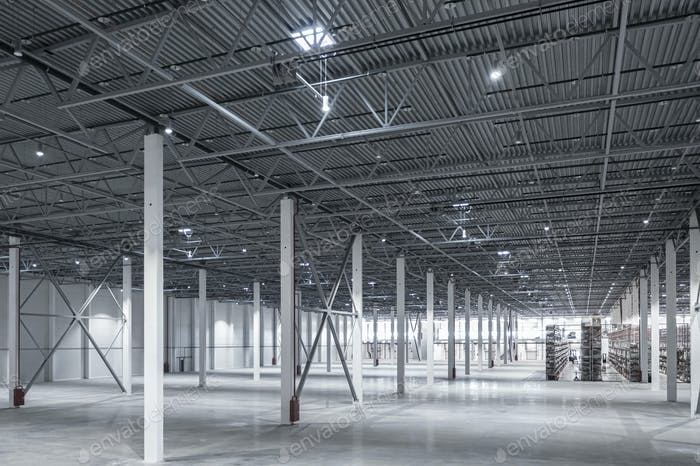 Factory or warehouse or industrial building Modern interior design with concrete floor
