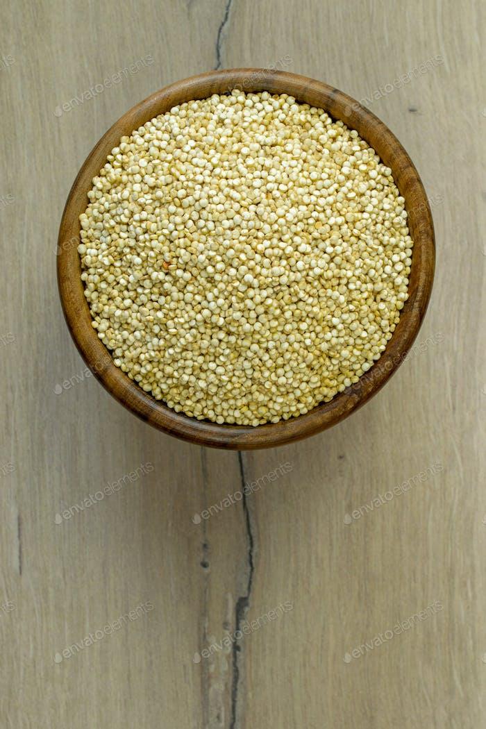 A Wooden Bowl of Quinoa Seeds