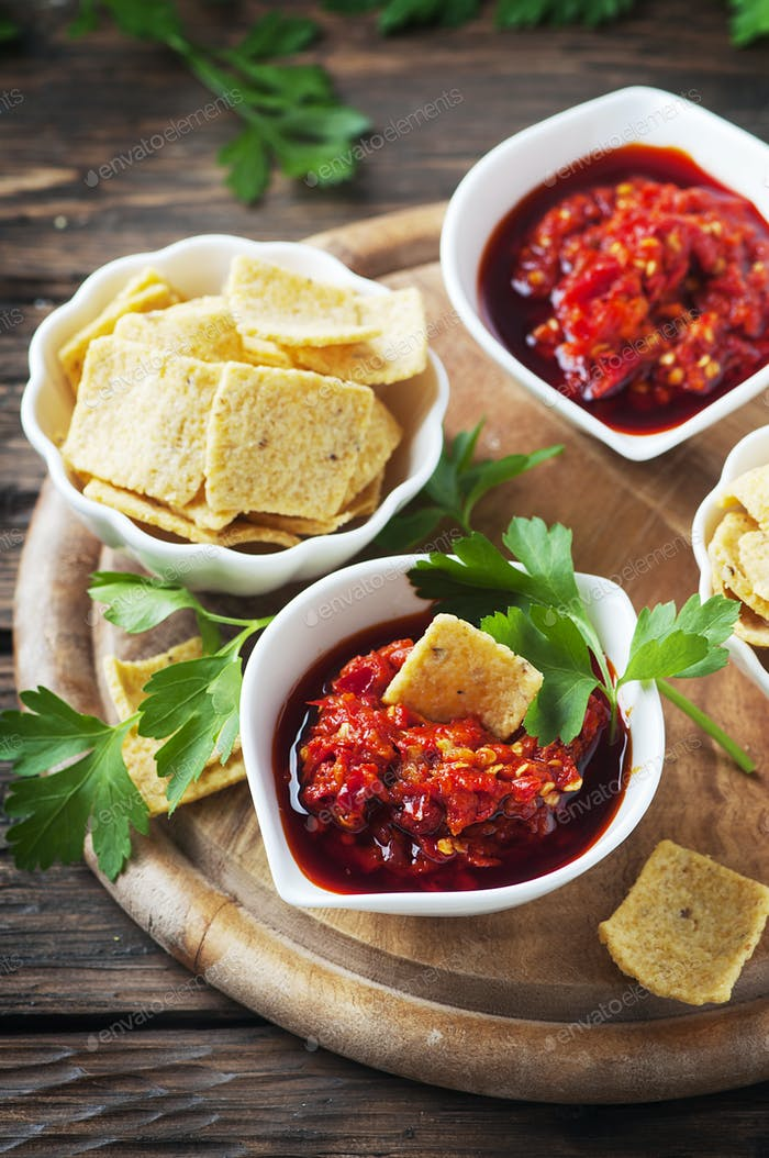 Hot mexican sauce with chili peppers