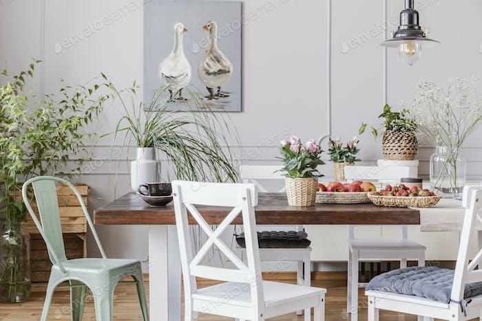 Comedor rústico con mesa Largo y sillas blancas y Dolor de aceite