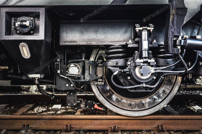 A train wheel close-up. Railway industry