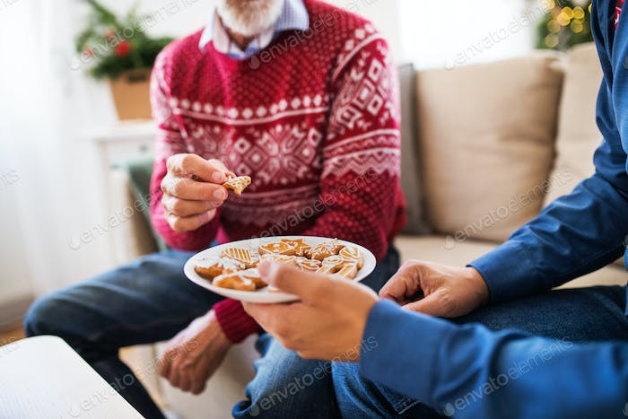 Unrecognizable senior father and adult son sitting on a sofa at Christmas time, eating biscuits.