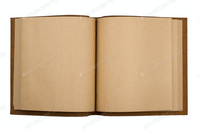 open notebook with leather cover isolated on white