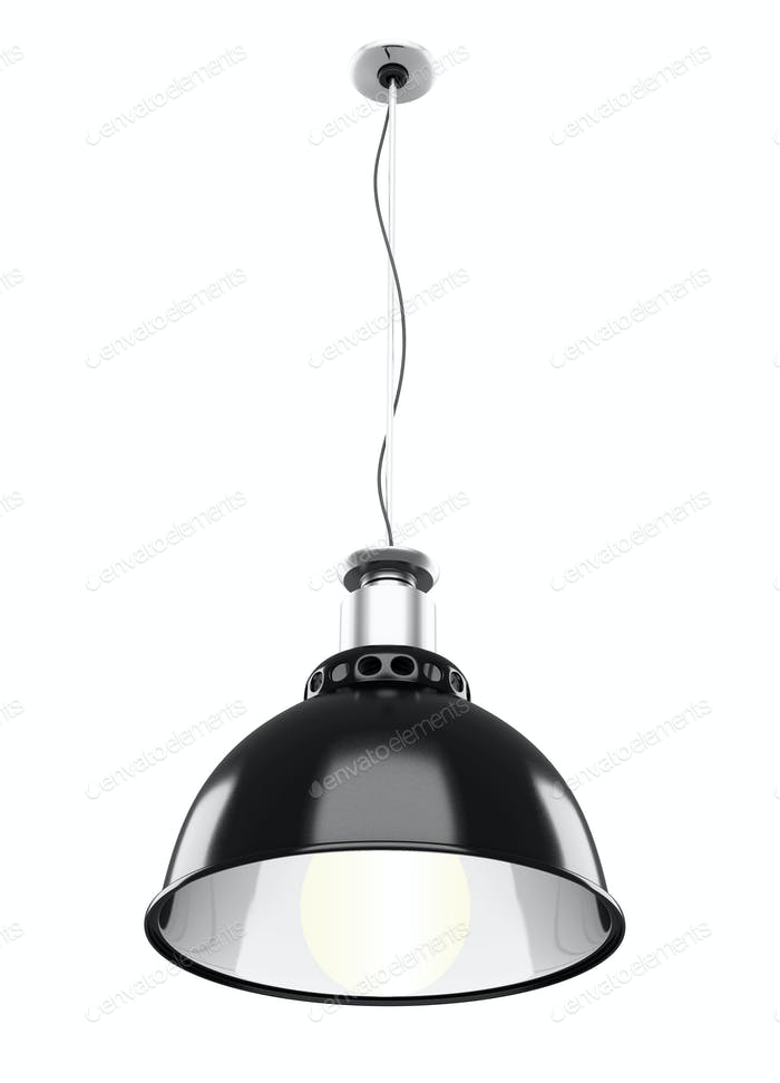 Metal ceiling lamp isolated on white background. 3d rendering.
