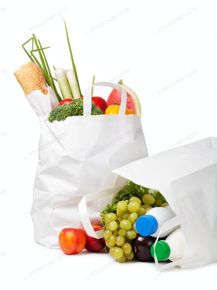 Papiertüte mit Lebensmitteln