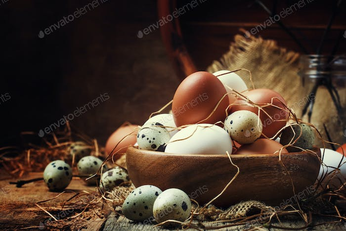 Easter composition with colorful chicken and quail eggs