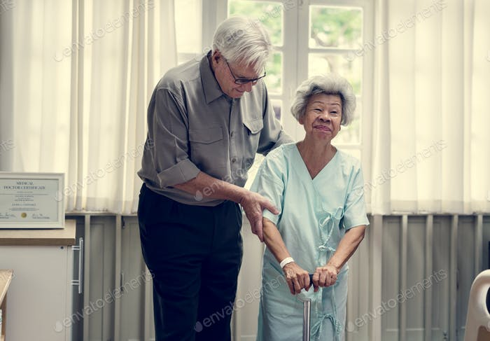Old couple in a hospital