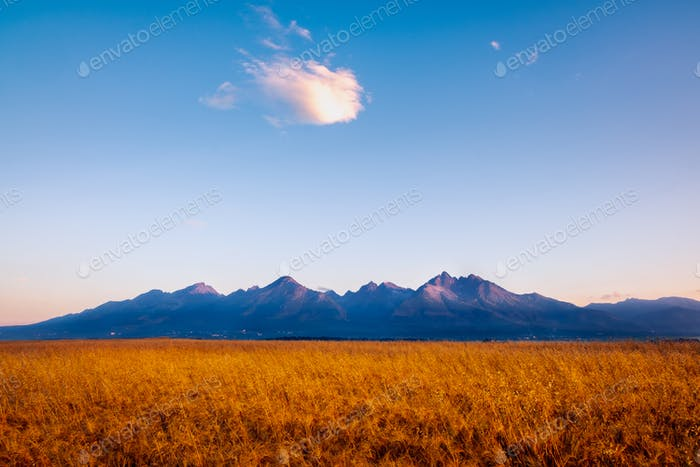 Landscape view of High Tatras mountains at sunrise, Slovakia