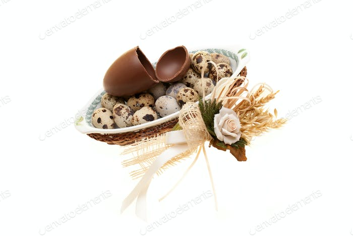 Photo: Plate With Quail Eggs And Broken Chocolate Egg