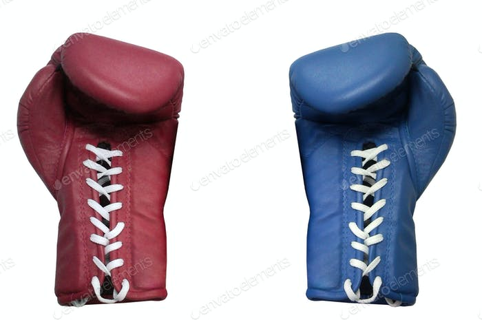 two boxing gloves on a white background close up
