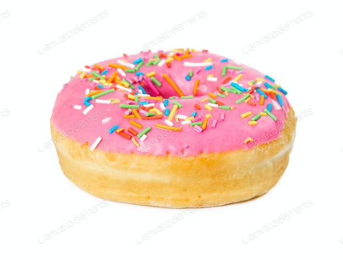 Strawberry donut with colorful sprinkles