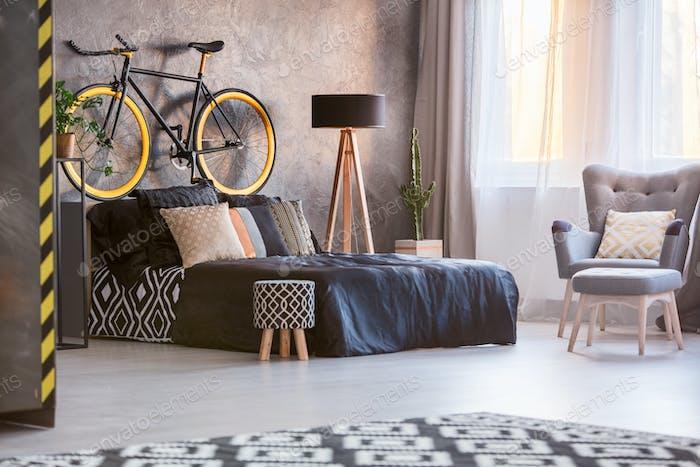 Creative style grey bedroom
