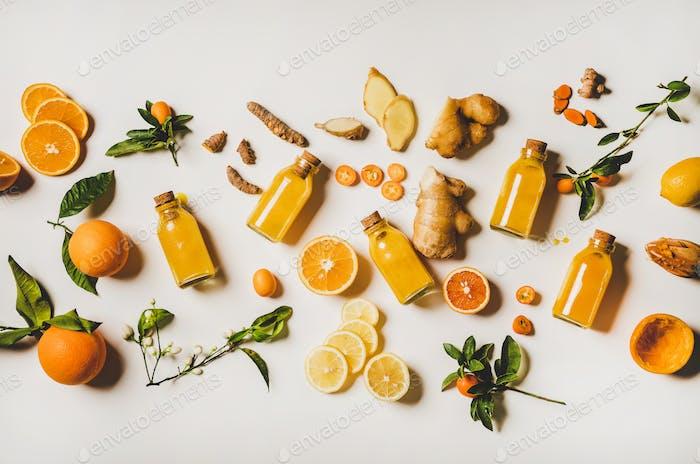 Immune boosting natural vitamin health defending drink over white background