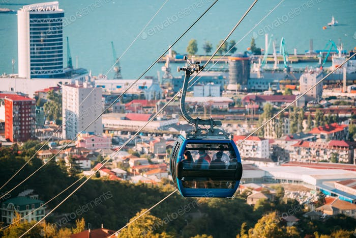 Batumi, Adjara, Georgia. Aerial Lift Cableway In Sunny Summer Da