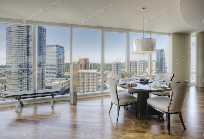 Dining room of luxury highrise apartment